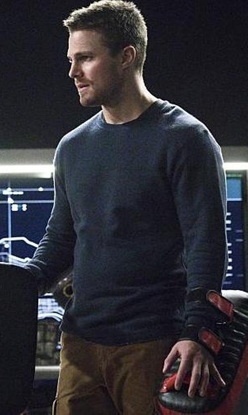 Stephen Amell with Boss Hugo Boss Crew Neck Sweater in Arrow