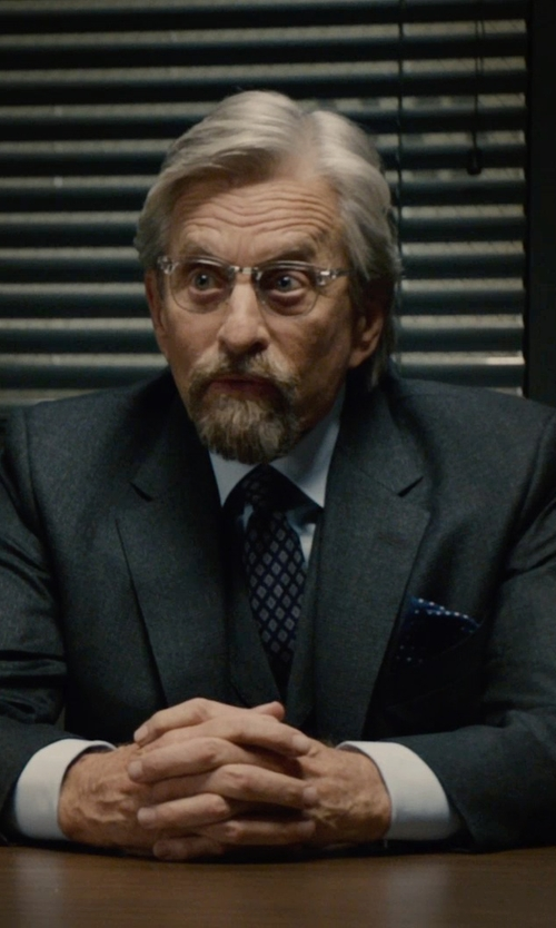 Michael Douglas with Fefè Polka Dot Print Pocket Square Handkerchief in Ant-Man
