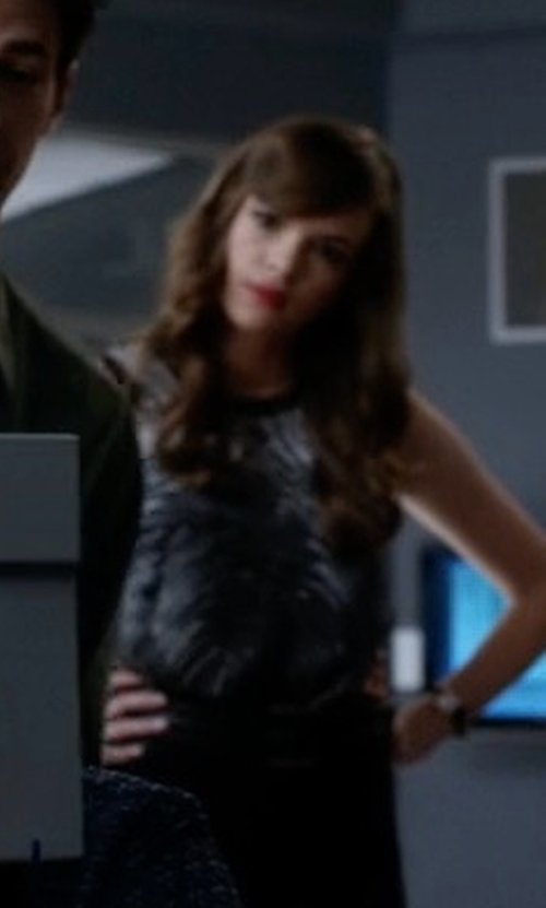 Danielle Panabaker with Helmut Lang Silk Method Print Top in The Flash