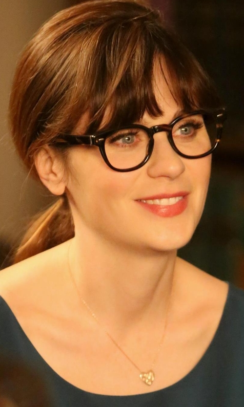 Zooey Deschanel with Judith Jack Crystal and Marcasite Pavé Heart Pendant Necklace in New Girl