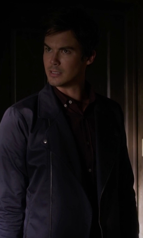 Tyler Blackburn with Hosio Jersey Biker Jacket in Pretty Little Liars