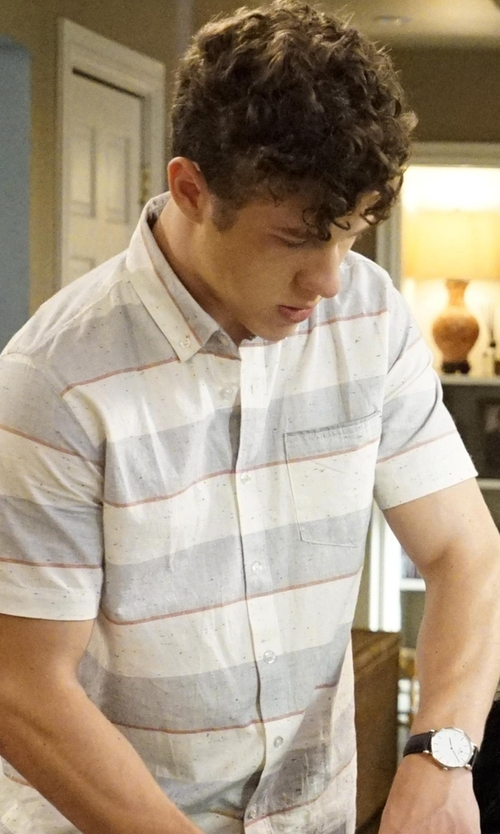 Nolan Gould with Lucky Brand Men's Short-Sleeved Verrigated Striped Button Down Shirt in Modern Family