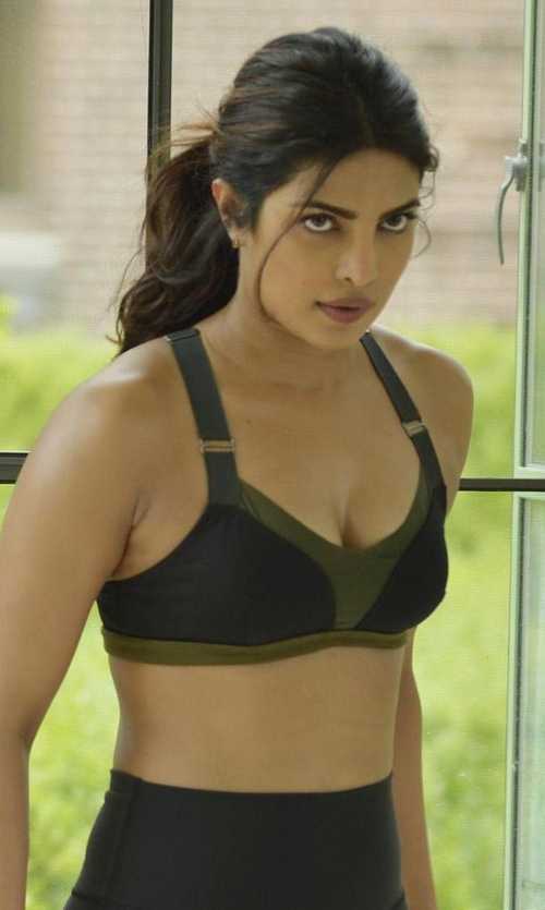 Priyanka Chopra with VPL Military Stripe B Bra in Quantico