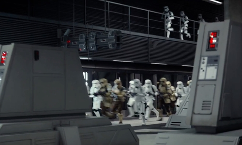 Unknown Actor with Canary Wharf Tube Station (Depicted as Death Star) London, United Kingdom in Rogue One: A Star Wars Story