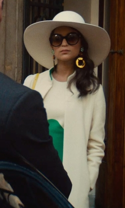 Alicia Vikander with Joanna Johnston (Costume Designer) Custom Made Color Block Dress in The Man from U.N.C.L.E.