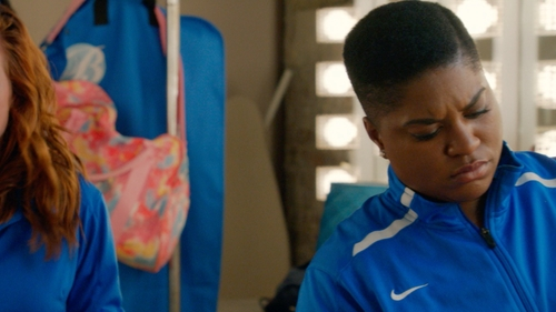 Ester Dean with Nike Custom Bellas Jacket in Pitch Perfect 2