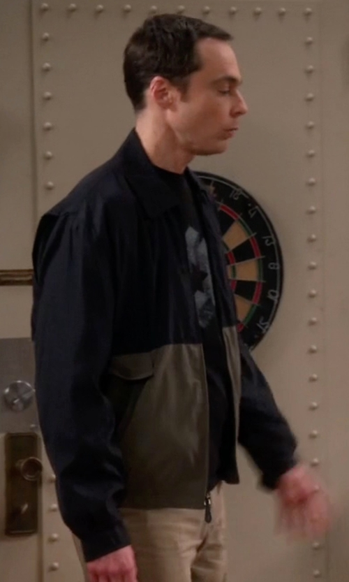 Jim Parsons with Polo Ralph Lauren Basic Windbreaker Jacket in The Big Bang Theory