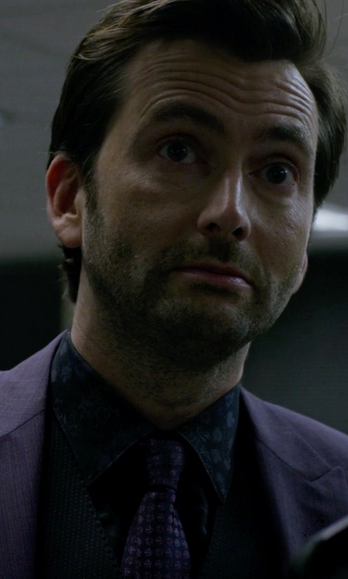 David Tennant with Paul Smith Byard Navy London Floral Shirt in Jessica Jones
