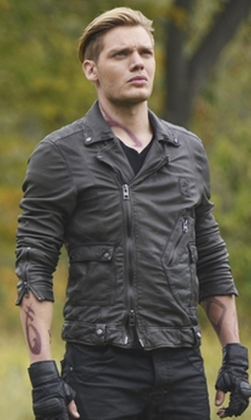 Dominic Sherwood with Sandro Thrash Leather Biker Jacket in Shadowhunters