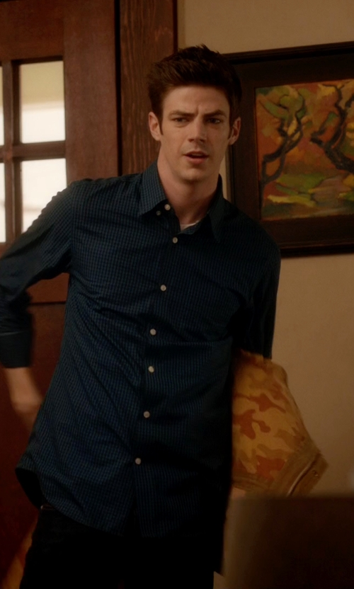 Grant Gustin with Vito Check Shirt in The Flash