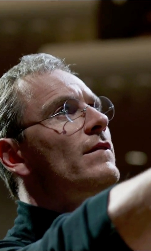 Michael Fassbender with Savile Row Diaflex Round Rimless Eyeglasses in Steve Jobs
