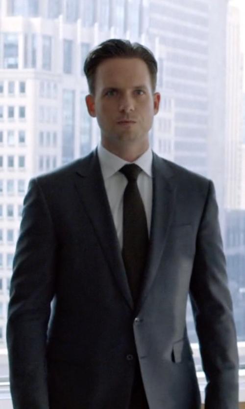 Patrick J. Adams with Thom Browne Grey Wool Suit in Suits