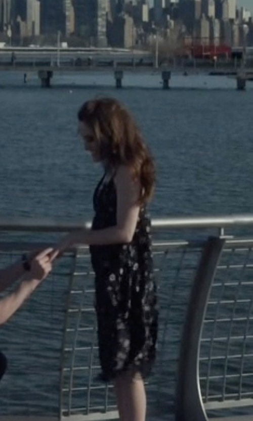 Carly Chaikin with A.L.C. Serena Floral Silk Dress in Mr. Robot