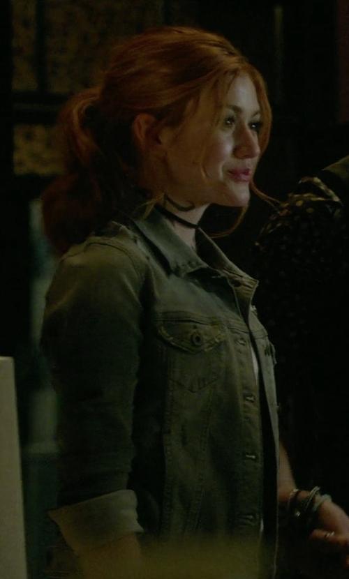 Katherine McNamara with Mavi Samantha Denim Jacket in Shadowhunters