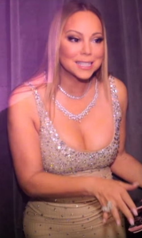 Mariah Carey with Phoebe  Beaded Pattern Shift Cocktail Dress in Mariah's World