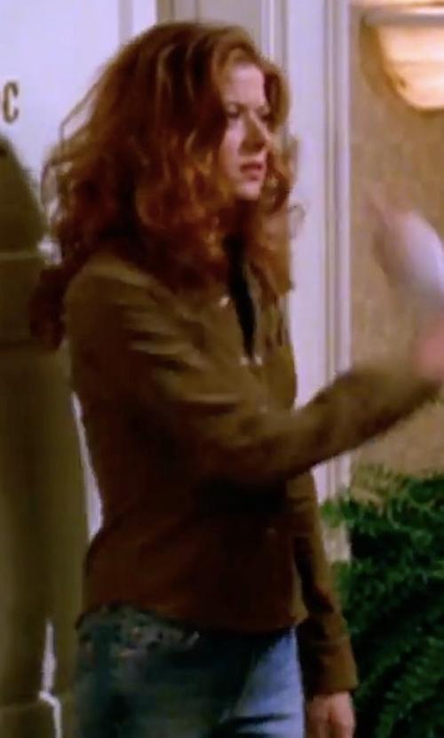 Debra Messing with Go Silk Safari Long-Sleeve Silk Shirt in Will & Grace