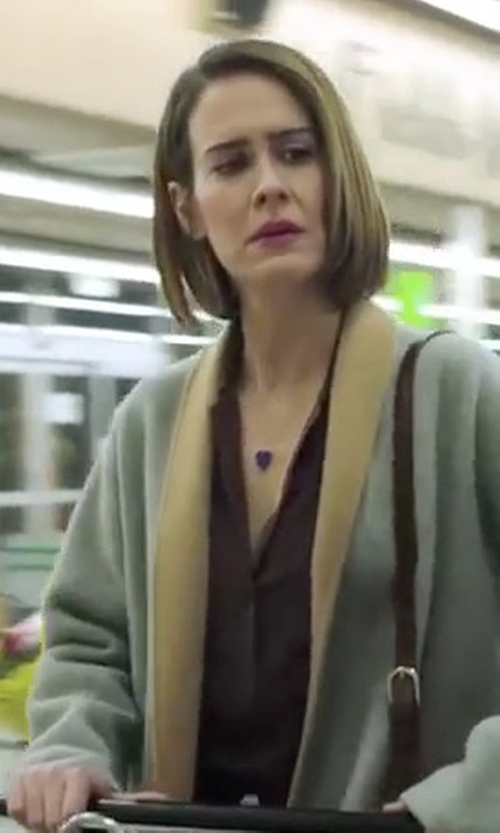Sarah Paulson with Equipment Signature Washed-Silk Shirt in American Horror Story