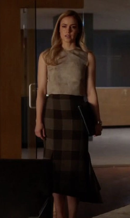 Amanda Schull with Balenciaga Asymmetric Checked Wool Skirt in Suits
