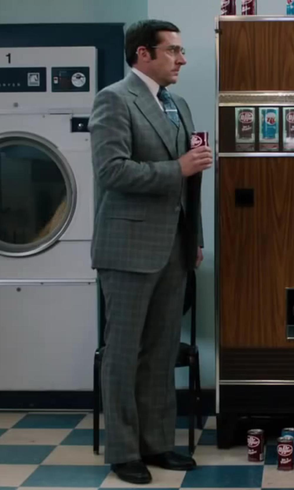 Steve Carell with Bianco B Men's Gray 4 Piece Vested Side-Vent Suit Extra Pants in Anchorman 2: The Legend Continues