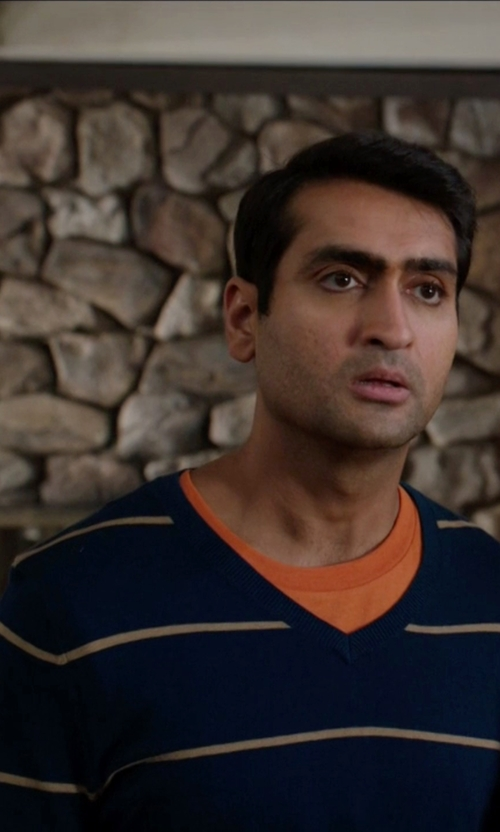 Kumail Nanjiani with Boss Hugo Boss Cyril Stripe V-Neck Sweater in Silicon Valley