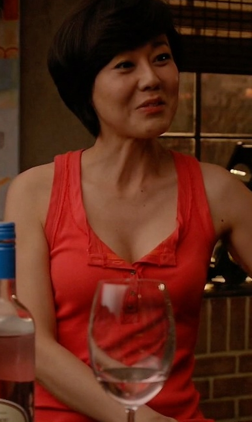 Yunjin Kim with Free People Time Out Henley Tank Top in Mistresses