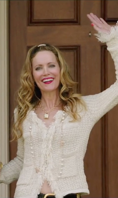 Leslie Mann with Iro Halston Textured Woven Jacket in Vacation