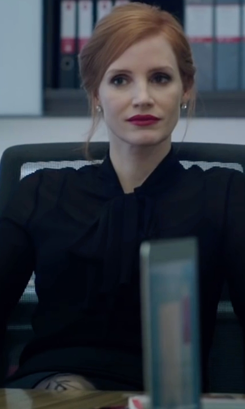 Jessica Chastain with Michael Michael Kors Pleated Tie-Neck Blouse in Miss Sloane