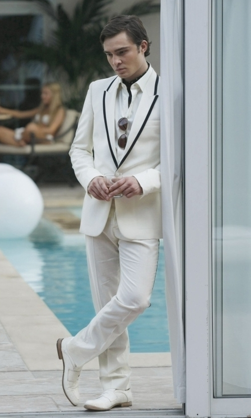 Ed Westwick with Luciano Ilari  Moccasins Shoes in Gossip Girl