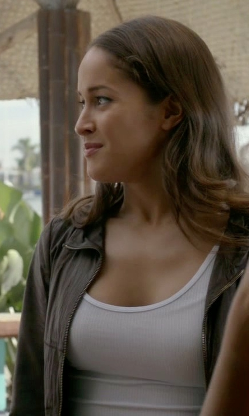Jaina Lee Ortiz with Rag & Bone The Classic Beater Tank Top in Rosewood