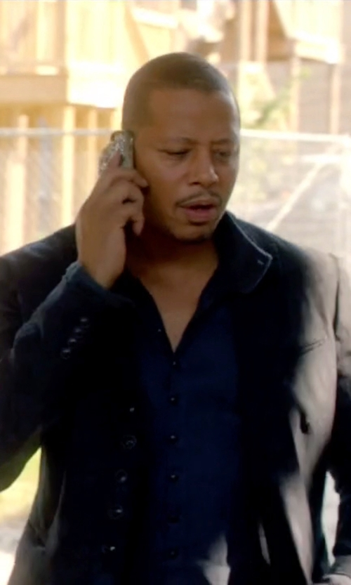Terrence Howard  with Loro Piana Navy Unstructured Suede-Trimmed Silk And Cashmere-Blend Blazer in Empire