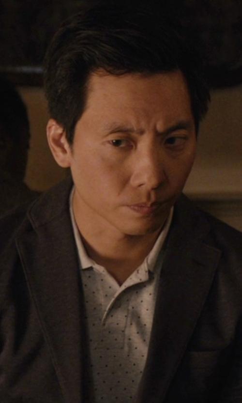 Kelvin Yu with Jack & Jones Premium Polka Dot Pique Polo Shirt in Master of None