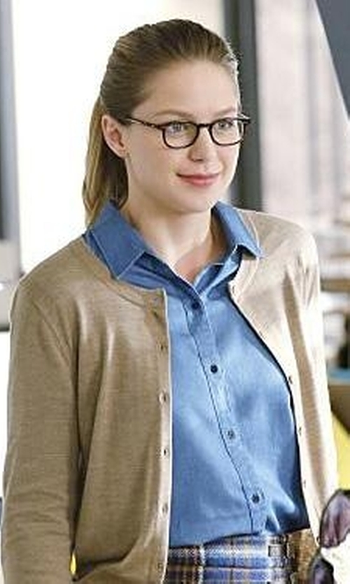 Melissa Benoist with Ann Taylor Silky Camp Shirt in Supergirl