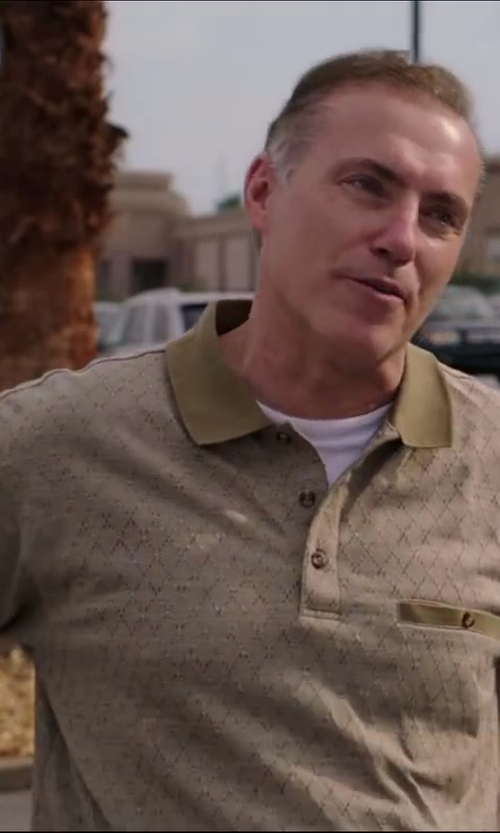 Al Sapienza with BLACK BROWN 1826 Patterned Cotton Polo in Million Dollar Arm