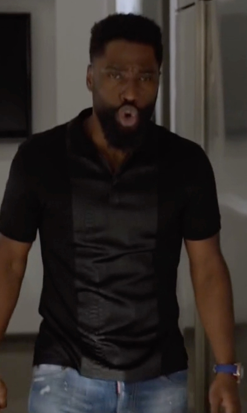 John David Washington with John Varvatos Star USA Johnny-Collar Short-Sleeve Polo Shirt in Ballers