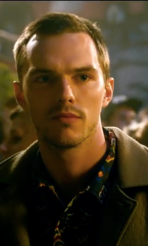 Nicholas Hoult with Ami Wool Blend Two-Button Coat in Collide