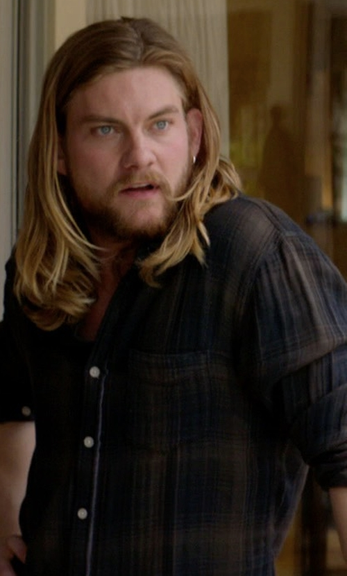Jake Weary with Michael Kors Tailored Plaid Long-Sleeve Shirt in Animal Kingdom