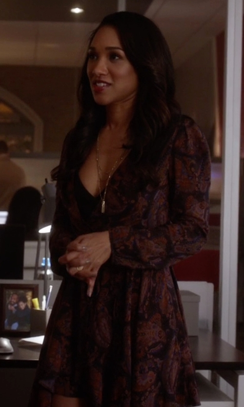 Candice Patton with Ecote Ruby Mini Wrap Dress in The Flash