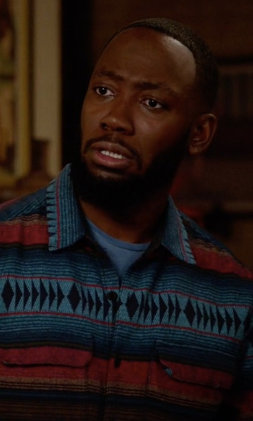 Lamorne Morris with Urban Outfitters Blanket Jacquard Flannel Button-Down Shirt in New Girl