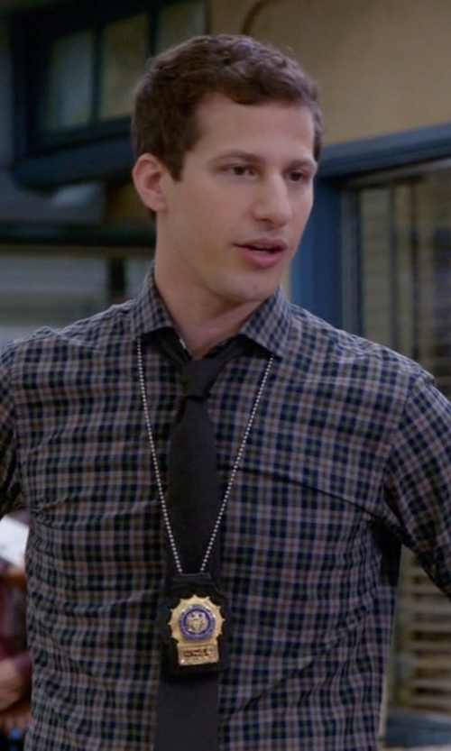 Andy Samberg with Thom Browne Long Sleeve Shirt in Brooklyn Nine-Nine