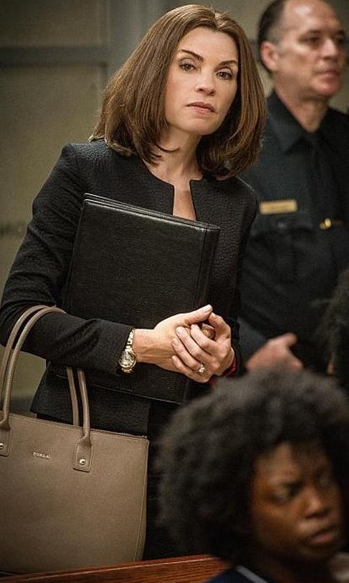 Julianna Margulies with Furla Linda Large Tote Bag in The Good Wife