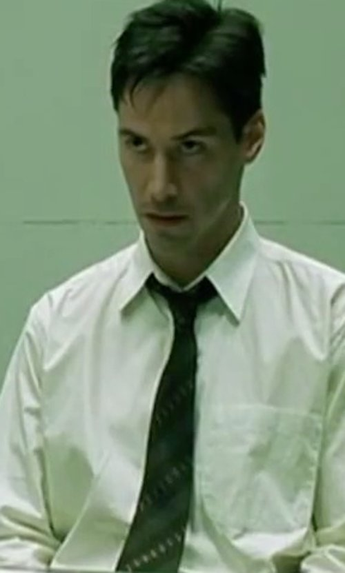 Keanu Reeves with Tommy Hilfiger White French Cuff Dress Shirt in The Matrix