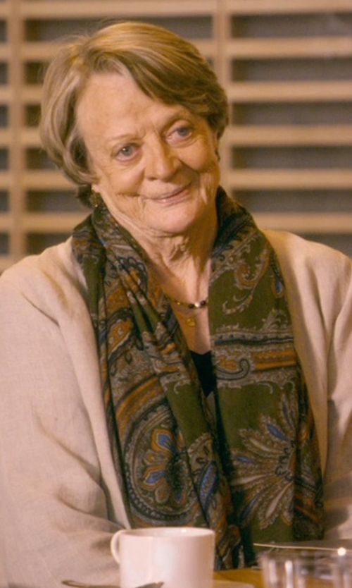 Maggie Smith with Valentino Garavani Butterfly Print Scarf in The Second Best Exotic Marigold Hotel