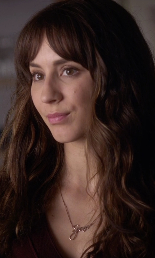 Troian Bellisario with One Necklace Script Name Necklace in Pretty Little Liars