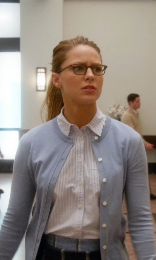 Melissa Benoist with Ann Taylor Ann Cardigan in Supergirl