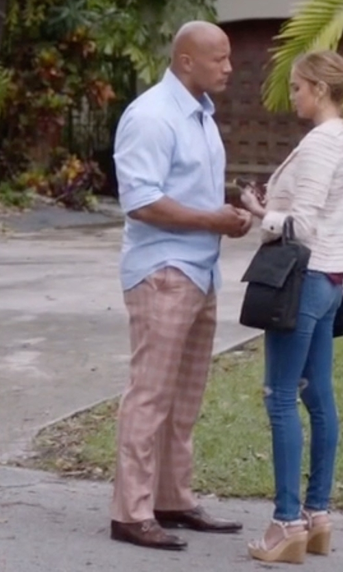 Dwayne Johnson with A. Testoni Leather Double Monk-Strap Loafers in Ballers