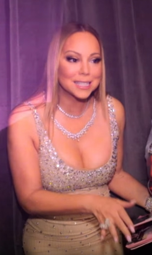 Mariah Carey with Ben-Amun Jewelry  Crystal Vine Necklace in Mariah's World