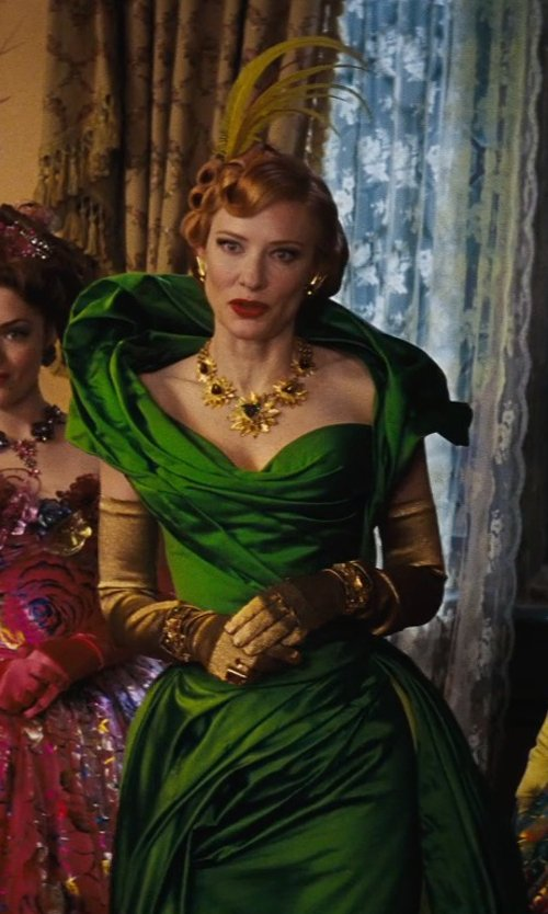 Cate Blanchett with Sandy Powell (Costume Designer) Custom Made Emerald Green Structured Ball Gown (Lady Tremaine) in Cinderella
