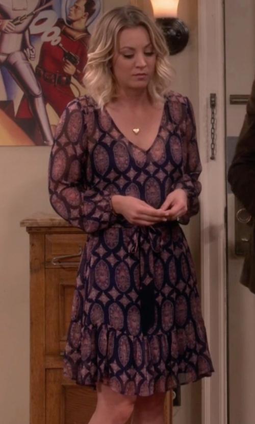 Kaley Cuoco-Sweeting with Ella Moss Marigold Silk Print Dress in The Big Bang Theory