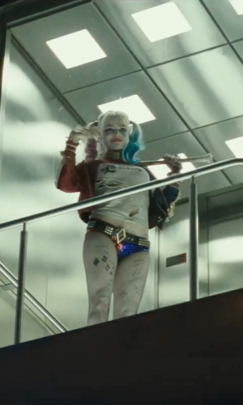 Margot Robbie with OEM Harley Quinn Gold Pyramid Studs Belt Costume in Suicide Squad