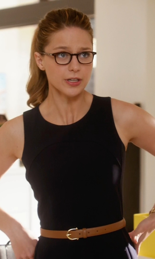 Melissa Benoist with Banana Republic Centerbar Italian Leather Belt in Supergirl